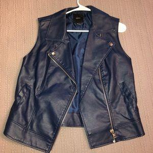 Faux leather navy blue vest